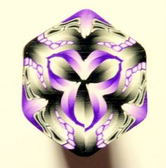 Black White and Purple Hexagon Polymer Clay Cane by ClaybyKerm,