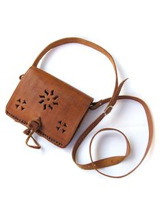 Mushmina Ethnic Tooled MOROCCAN Leather Cross-Body Bag -Natural
