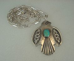 OLD HARVEY NAVAJO STAMPED SILVER & TURQUOISE THUNDERBIRD NECKLACE
