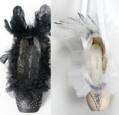 Black Swan & White Swan Decorated Ballet Pointe Shoes