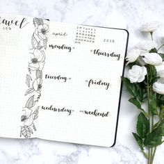 Bullet journal weekly layout, hand lettering, flower drawing, one paged bullet journal weekly layout. | @thebujobuzz