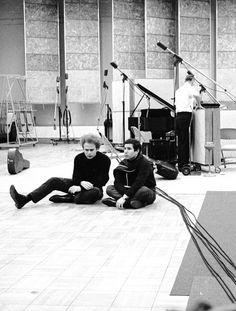 Simon and Garfunkel at the studio, 1964