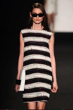 Crochet can be high fashion! Striped crochet dress