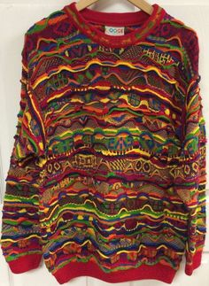 COOGI Bright Neon 3D Knit Sweater Size Medium Mercerised Cotton 90s Hip Hop EUC #COOGI #Crewneck