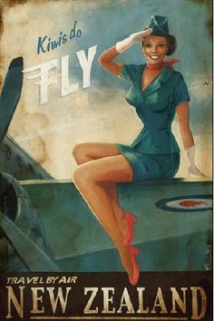 "Air hostess (Yes, that's what air stewardesses were called in those days!) Air New Zealand ""Kiwis do fly"" poster from www.wings900.com. Scan old photos, posters, prints with Pic Scanner app for iPhone and iPad"