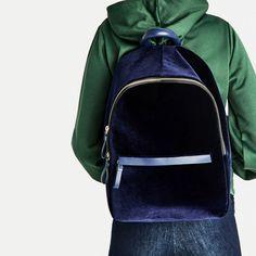 Image 3 of VELVET BACKPACK from Zara Zara 2016, Luxury Bags, Spring Summer 2016, Sling Backpack, Fashion Backpack, Fashion Accessories, Velvet, Backpacks, Women's Handbags