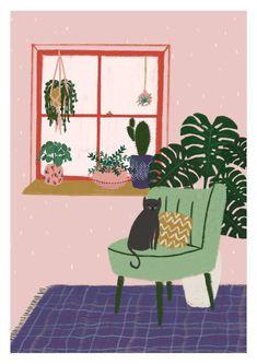 Pflanzen und Katze Druck / Monstera Kakteen Illustration / | Etsy
