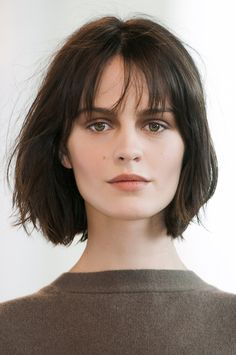 STYLECASTER | Medium-Short Hairstyles | With Wispy Bangs