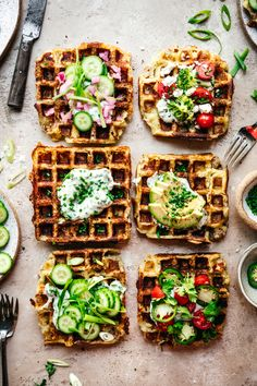 These savory mashed potato waffles are vegan, gluten free and perfectly for loading up with your favorite toppings. Perfect brunch for a crowd! Potato Waffles, Savory Waffles, Healthy Waffles, Vegan Brunch Recipes, Waffle Recipes, Freezer Recipes, Freezer Cooking, Drink Recipes, Pasta Recipes