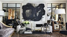 javier castilla living room--modern eclectic, large abstract, mirror detail, black and white