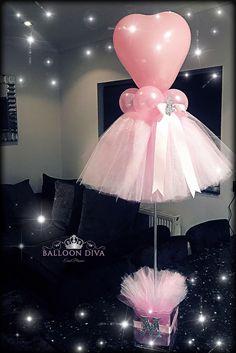 ballerina balloons, ballet center piece, pink balloons,