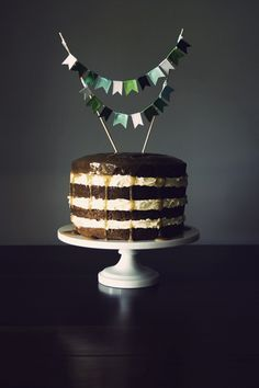 ribbon cake bunting, love the emerald and mint green + chocolate