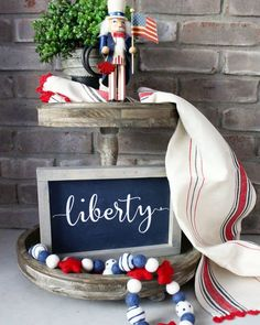 24 July Tiered Tray decoration ideas to glam up your home in Patriotic Spirit - Hike n Dip Fourth Of July Decor, 4th Of July Decorations, July 4th, Beaded Garland, Garlands, Tiered Stand, Xmas Wreaths, Tray Decor, Wall Decor