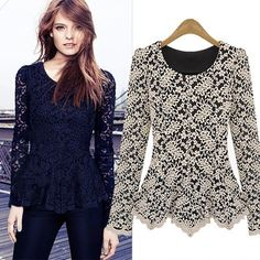 Women Lace Sheer Long Sleeve Peplum Jumper Top Blouse Black ,DS1090