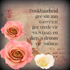 Dankbaarheid gee sin aan gister gee vrede vir vandag en skep 'n droom vir more. Evening Greetings, Afrikaanse Quotes, Goeie Nag, Inspirational Quotes About Success, Christian Messages, Irish Quotes, Good Night Quotes, Nice Quotes, Wedding Quotes