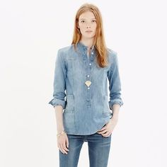Madewell-Downshift-Denim-Chambray-Long-sleeve-pullover-top-Womens-Size-Small