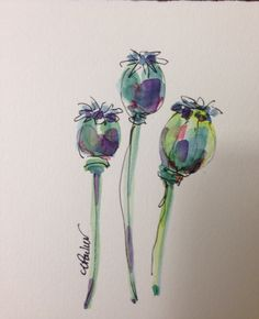 Poppy Pods Watercolor Card от gardenblooms на Etsy