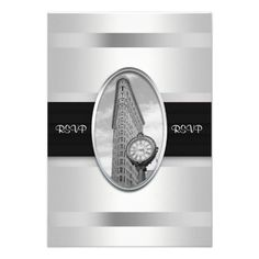 Flatiron Building White Silver RSVP 1 Personalized Announcement