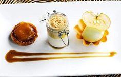 Assiette of apples with apple sorbet, panna cotta and butterscotch sauce - Matthew Tomkinson