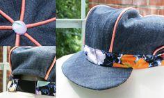 A newsboy cap created from recycled denim and fabrics / Une casquette gavroche créée à partir de denim et de tissus récupérés - amandeaupaysdescouleurs.wordpress.com
