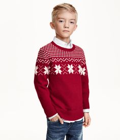 Red & white boys holiday sweater with Fair-Isle knit. | H&M Kids