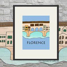 Florence TRAVEL SERIES Ponte Vecchio illustration by Carol Dib | SementinhasCorDeRosa shop on Etsy.