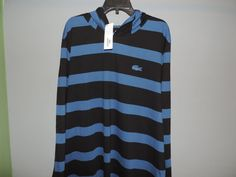 Lacoste Authentic Designer Navy Blue on Blue Striped L/S Hoodie Shirt SZ 8 NWT  #Lacoste #Hooded