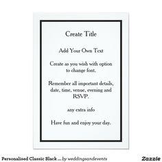 Personalised Classic Simple Black Border Wedding Invitations