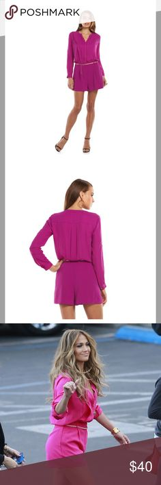 Women's Jennifer Lopez Crepe Romper NWT size 12 PRODUCT FEATURES Mandarin collar 4-button covered placket Button-tab sleeves roll from long to 3/4-length Soft crepe construction 2-pocket FIT & SIZING 2 1/2-in. inseam Zipper fly FABRIC & CARE Polyester Machine wash Imported Jennifer Lopez Shorts