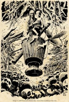 Baba Yaga (an image from the contemporary Hellboy series, not Vasilisa, but a great illustration of her anyway!) by MIke MIgnola