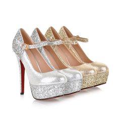Party pumps girls platform slim heels shoes of Stock Stilettos, Stiletto Heels, Pumps, Pump Shoes, Shoes Heels, Red Bottom Shoes, Silver High Heels, Sparkly Shoes, Wedding Heels