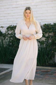 Linda V-Neck Smocked Detail Maxi Dress Dresses Wishlist Natural Small/Medium Flowy Maternity Dress, Flowy Bridesmaid Dresses, White Maxi Dresses, Cute Dresses, Beautiful Dresses, Lace Dress, Casual Dresses, Dress Up, Dresses With Sleeves