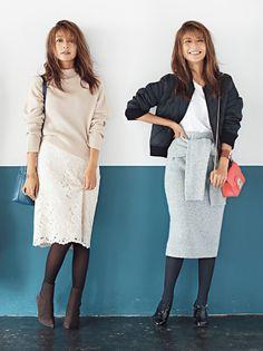 カラータイツで脚長効果♪ 小柄女子のスタイルアップ術 #大石参月 #カラータイツ #fashion #women #tights Autumn Fashion, Fall Winter, Tights, Feminine, Chic, Skirts, Sweaters, Outfits, Dresses
