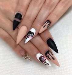 The Best Stiletto Nails DesignsStiletto nail art designs are called claw or claw nails. These ultra-pointy nails square measure cool and horny however they'll not be for everybody. As there's a much bigger surface, sticker nails permit United States Stiletto Nail Art, Cute Acrylic Nails, Acrylic Nail Designs, Nail Art Designs, Crazy Nail Designs, Matte Nails, Ghetto Nail Designs, Stiletto Nail Designs, Creative Nail Designs