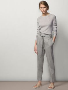 Grey on grey - soft cashmere jumper, relaxed high waisted trousers