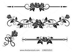 Rose flowers with vintage elements and borders. Jpeg (bitmap) version also available in gallery - stock vector