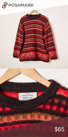 1990s United Colors of Benetton fair isle sweater. 1990s United Colors of Benetton fair isle sweater. Fantastic oversized sweater in vibrant color palette with hues of coral, olive, red, purple, and black. Fits like an oversized Medium.   ++TAGS ++ brand United Colors of Benetton  tagged size 50 material 30% Mohair, 29% Polyamide, 21% Acrylic, 20% Laine Wool Made in Italy United Colors Of Benetton Sweaters