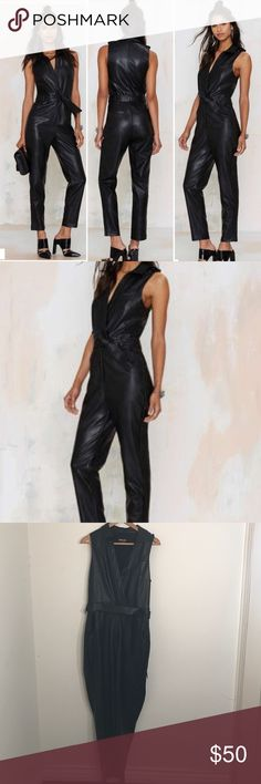 Nasty Gal slick chick faux leather plunge jumpsuit NWT never worn. Bought this for a cat woman costume last year for Halloween. It's well made and looks expensive. Nasty Gal Pants Jumpsuits & Rompers
