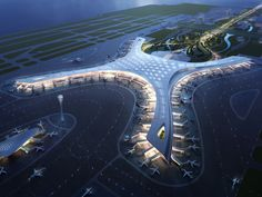 Dalian Airport Terminal Competition, Corgan, Dalian, China square feet): The terminal's design aims to meet the needs of passengers while creating a unique experience. The flow-based, na… Futuristic City, Futuristic Architecture, Futuristic Technology, Future Buildings, Modern Buildings, Organic Architecture, Architecture Design, Residential Architecture, Airport Design