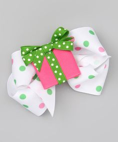 Take a look at this Pink Present & Polka Dot Bow Clip Set by Picture Perfect Hair Bows on #zulily today!