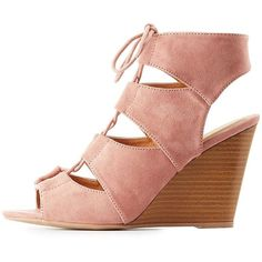 Charlotte Russe Lace-Up Slingback Wedge Sandals ($29) ❤ liked on Polyvore featuring shoes, sandals, mauve, wedge slingback, charlotte russe sandals, charlotte russe shoes, lace up wedge sandals and cut out wedge sandals