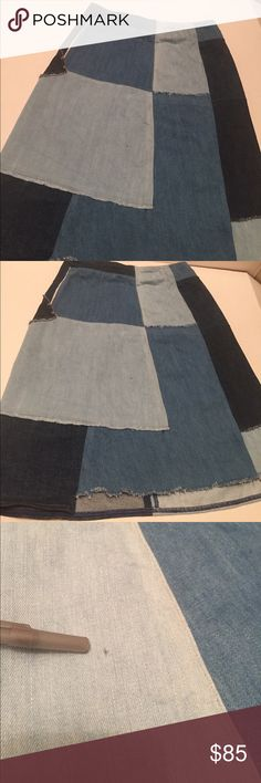 """M.i.h Patchwork denim skirt A denim patchwork M.i.h. For Anthropologie Jeans skirt with casual bohemian style. Uneven hem. Exposed side zip. Unlined.  20"""" long,  13"""" waist.  Like new,  worn once has a small mark on the front as shown.    Fabric: Denim. 100% cotton. Wash cold or dry clean. Imported, Turkey. Anthropologie Skirts"""