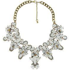 Flower Crystal Statement Bib Collar Necklace