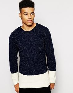 Native Youth Nep Cable Knit Jumper In Colour Block