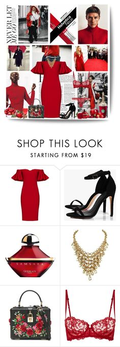 """""""The most powerful weapon on earth is the human soul on fire"""" by kikusek ❤ liked on Polyvore featuring Badgley Mischka, Boohoo, Guerlain, Dolce&Gabbana, La Perla, red, Elegant, embellished, offshoulderdress and 2017"""
