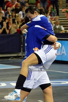 Romanian Cristina Neagu and Serbian Dragana Cvijic of Montenegro's Buducnost celebrate after the final match of the EHF Women's Champions League Final Four competition of Norway's Larvik HK vs. Handball Players, Final Four, Serbian, Montenegro, Champions League, Budapest, Competition, Female, Celebrities