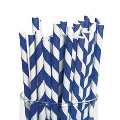 """Blue Striped Paper Straws - OrientalTrading.com. Dress up your drinks with blue and white striped paper straws to match your party theme. Choose blue straws to coordinate with your nautical party, wedding theme, 4th of July or a graduation party in your school colors. Paper. (2 dozen per set) 7 3/4"""""""