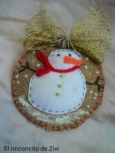 Adornos árbol navidad arpillera fieltro, decoración navideña, adornos navidad rústicos, muñecos de nieve, navidad, árbol navidad, ornamentos
