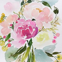 Yao Cheng Design creates delightful watercolors for the everyday. Watercolor Projects, Watercolor Cards, Watercolour Painting, Watercolor Flowers, Painting & Drawing, Watercolors, Illustration Blume, Watercolor Illustration, Art Floral