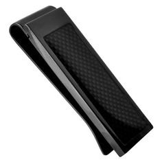 Men's Money Clip In Black PVD with Black Carbon Fiber Inlaid Inox. $29.95